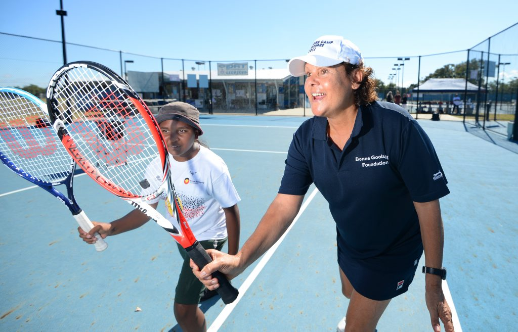 Evonne Goolagong (right) with Glenmore State School student Ivy Kris-Jasperson (11) during a coaching clinic for indigenous students in Rockhampton. Photo: Chris Ison / The Morning Bulletin