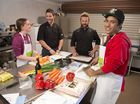 Need for feed chef program participants Ruby Douglass and Malik Suey with Ortem co-owners and chefs Peter Astbury (centre, left) and Jake Stewart.
