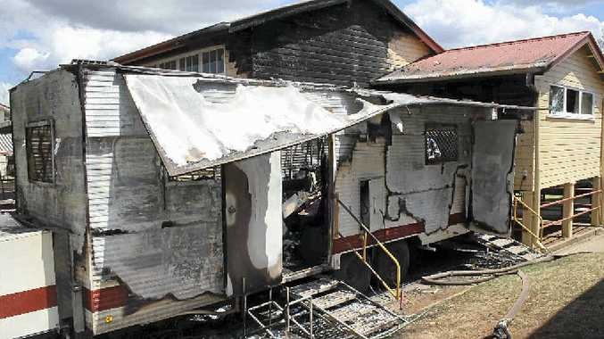 ARSON ATTACK: A mobile dental van destroyed in a fire at the Gatton State School.