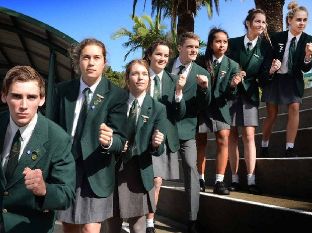 KEEN TO GO: Sam Collins, Rhianna Rudgley, Claudia Piggott, Ruby Wallen, James Dowling, Mary Dibley, Elke Jansen and Brooke Roach. Absent: Clayton Johnson. The students are participating in the Gold Coast half marathon on July 6 to raise money for Camp Quality.