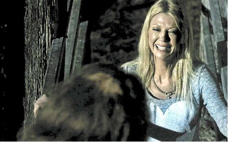 MAIN: Tara Reid in a scene from the film. TOP: The Charlie's Farm crew in action. BOTTOM: Cast members David Beamish, Genna Chanelle Hayez, Dean Kirkright, Tara Reid, Allira Jaques and Sam Coward.