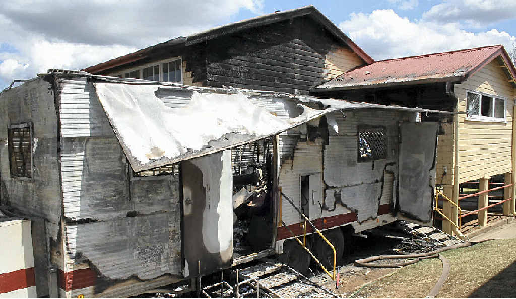 FIRE AFTERMATH: The mobile dental van destroyed in a fire at Gatton State School.