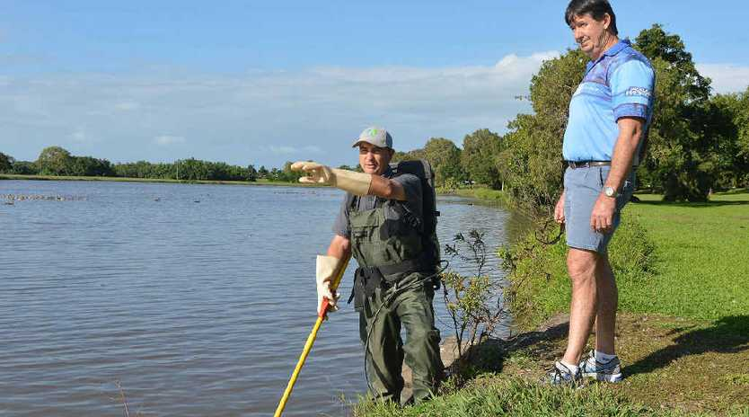 Reef Catchments Coordinator- Aquatic Habitats' Tim Marsden and Tackleworld Mackay owner Neil Elworthy discuss the issue of Tilapia at the Gooseponds.