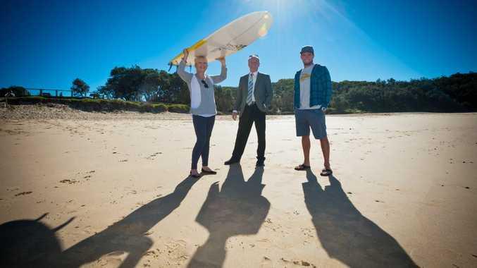 Australian Surf Festival preview: Mayor Denise Knight, MP Andrew Fraser and World Longboard Champion Harley Ingleby.