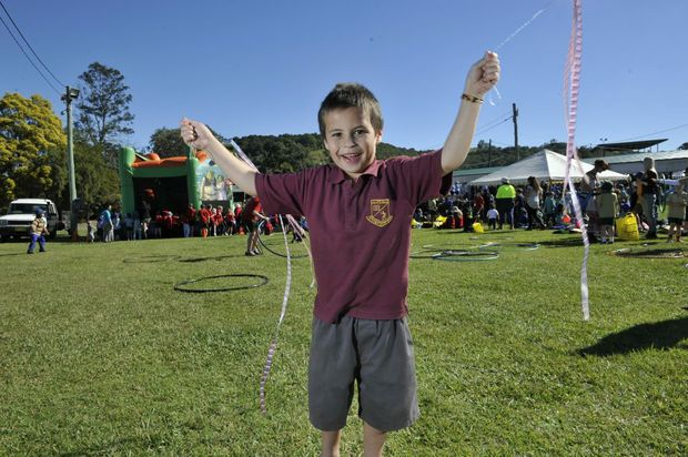 Greg Cummins (6), of Lismore, has fun at the NAIDOC Celebrations held at the Lismore Showground. Photo Marc Stapelberg / The Northern Star