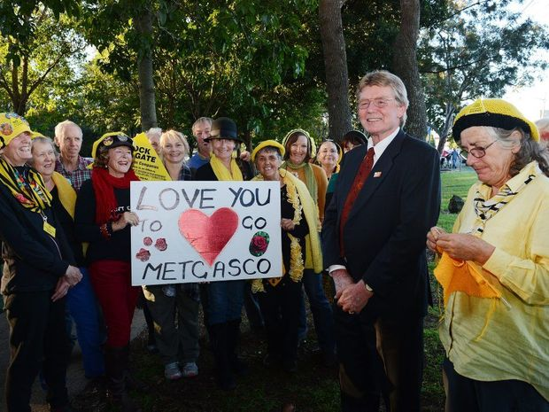 The Knitting Nanas celebrate with Lismore Councillor Simon Clough after the NSW Government upheld the decision to suspend Metgasco exploratory licence.