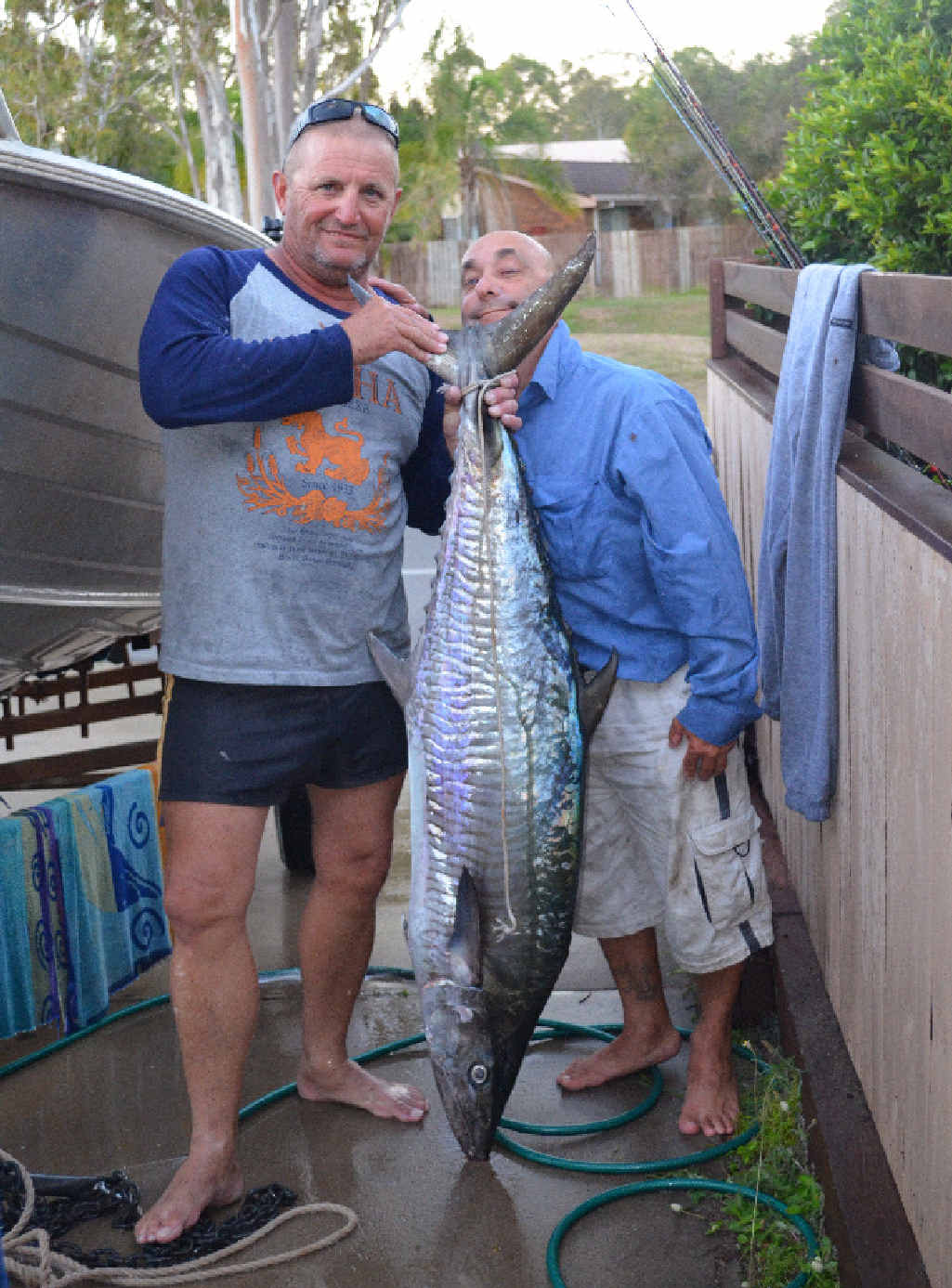 A MONSTER: Steven Griffin and Nev Welsh proudly showing off a 29kg Spaniard from Outer Rocks.