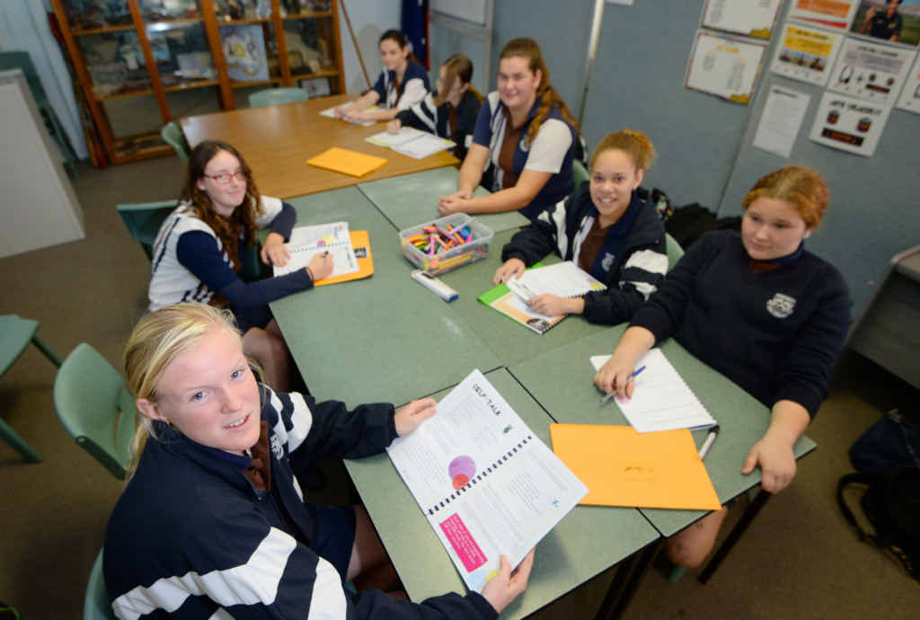 GAINING CONFIDENCE: Rockhampton State High School student Macey Knowles and her fellow Year 9 classmates, L-R Courtney Flesser, Chloe Tomkins, Shayla Clark, Breanna Warby, Katana Mook, and Sharna Parsons, have gained leadership skills from attending the schools Y Bloom program.