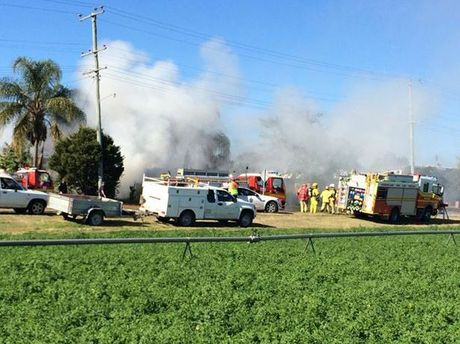 Fire crews at a house fire in Laidley.