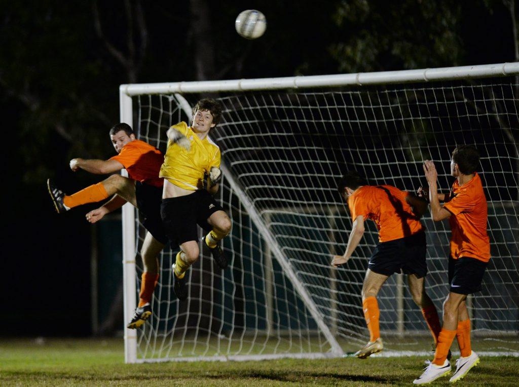 Frenchville's Robert Day defendes his goal against Cap Coast. Photo Allan Reinikka / The Morning Bulletin