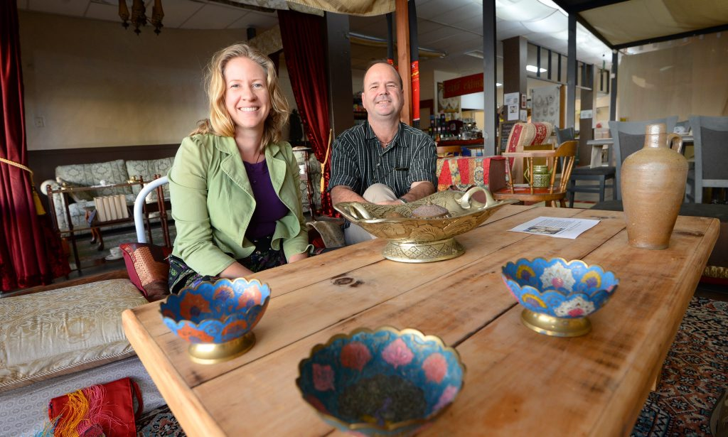 Jo Kurpershoek and Dean Anderson at Cafe Calma on East Street which will soon host a mini Luna Markets in its rear courtyard. Photo: Chris Ison / The Morning Bulletin