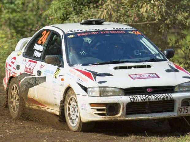 SIDEWAYS: Jay Davidson in action at the International Rally of Queensland last weekend.