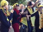 The Knitting Nannas Against Gas perform their own version of the Hokey Pokey.