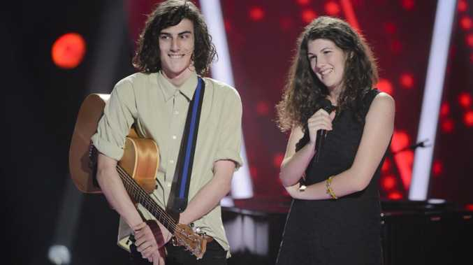 Brother and sister duo Gabriel and Cecilia Brandolini, from Clunes NSW, pictured on The Voice Australia. Supplied by Channel 9/WIN. Please credit photo to Stuart Bryce.