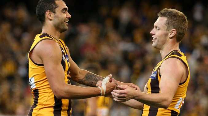 Shaun Burgoyne and Sam Mitchell of the Hawks celebrate their win in the Round 6 AFL match between the Richmond Tigers and the Hawthorn Hawks at the MCG in Melbourne, Sunday, April 27, 2014.