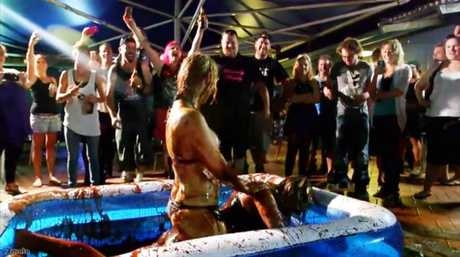 The team from popular television show The Bogan Hunters visited The One Mile Hotel in West Ipswich to document its jelly and chocolate wrestling event. Photo: Contributed
