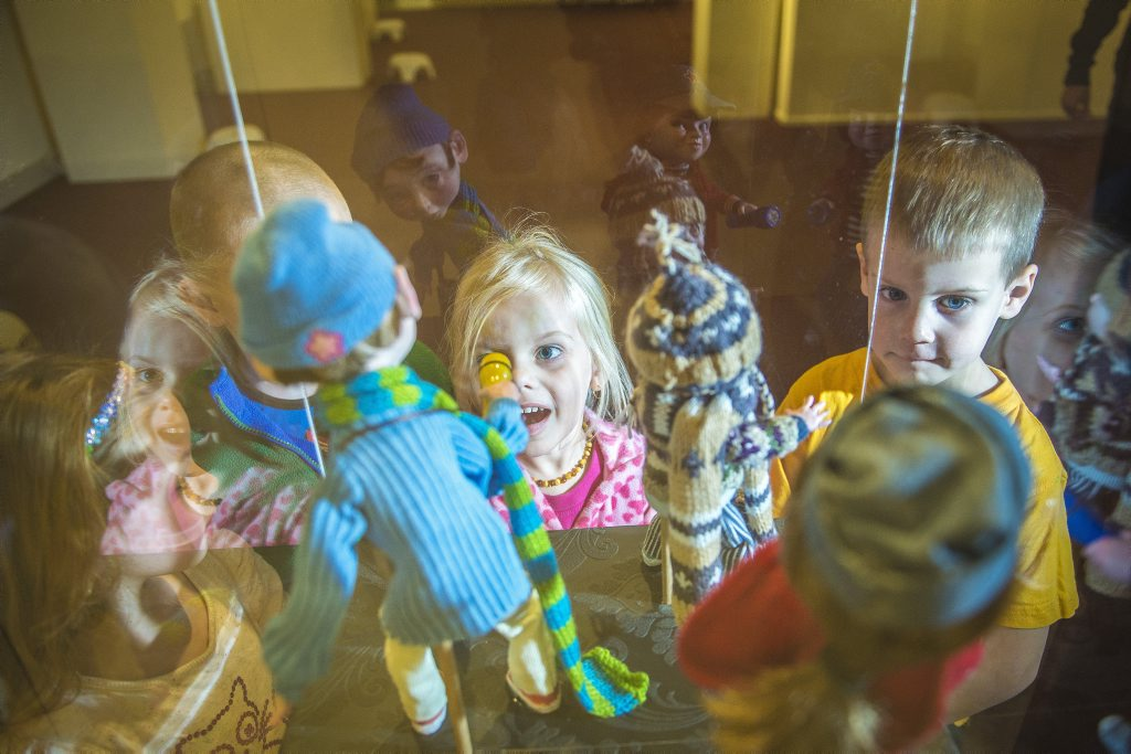 Freya Betts, 4, Chaise Reid-Penning, 5 Charlotte Thomas, 4, and Ben Lowry, 4 looking at the dioramas and illustrations on display at the Gladstone Regional Art Gallery and Museum, which is part of their Carnivale exhibition.