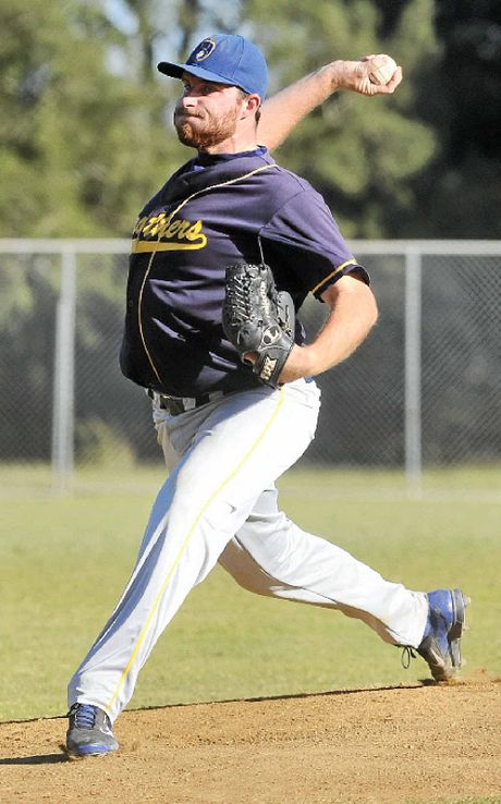 KEEPING IT TIGHT: Brothers pitcher Matt Wyatt gets into his work on the mound against Easts. Wyatt and Jake Muscat in relief combined to get the Brethren home in a tight game on Baxter Field.