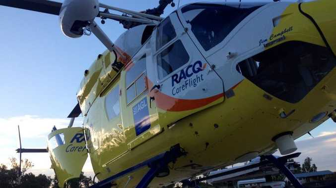 Sunshine Coast RACQ CareFlight rescue has airlifted a woman from Fraser Island to a Sunshine Coast hospital