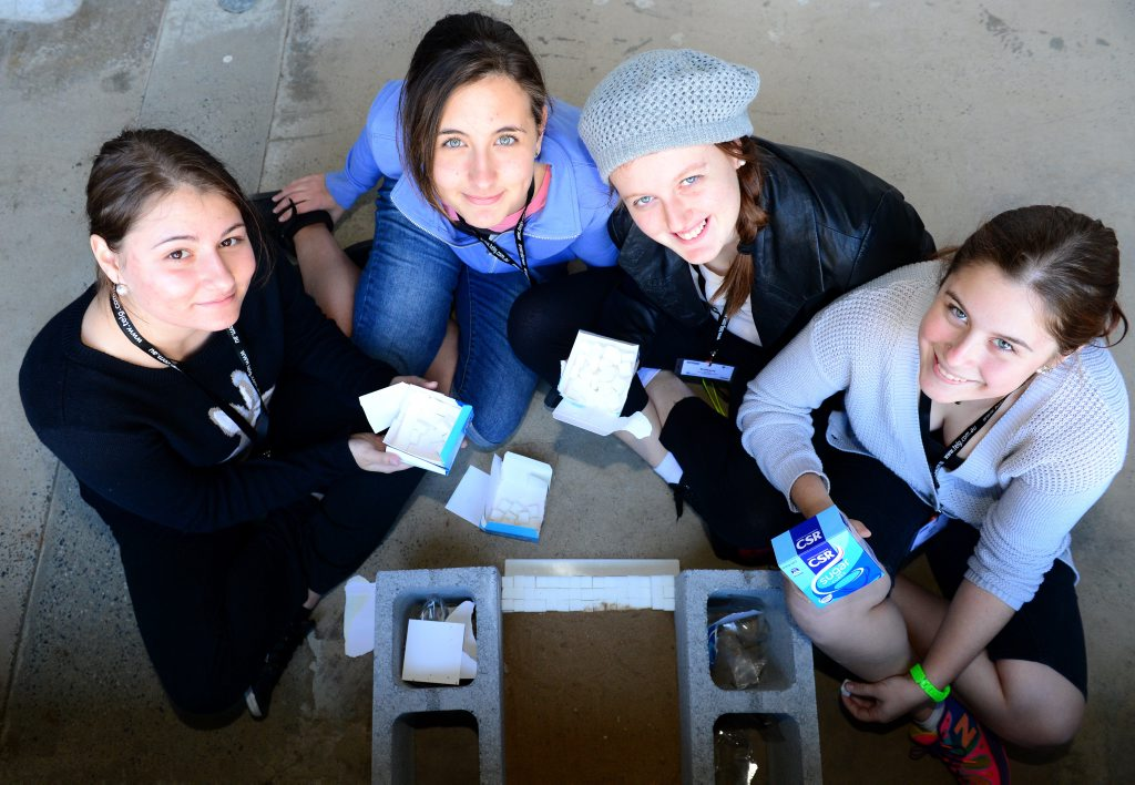 Andrea Ispanovic, Ksenia Metilkova, Brittany Macleod and Emily Taylor from Toolooa State High School at CQUniversity taking part in an engineering camp, building a retaining wall made of sugar cubes. Photo Sharyn O'Neill / The Morning Bulletin