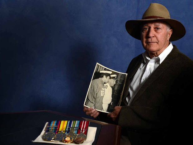 HONOURING THOSE WHO SERVED: Indigenous Vietnam War veteran Michael Jarrett from Alstonville is pleased the NAIDOC theme is Serving Country: Centenary & Beyond, honouring all Aboriginal and Torres Strait Islander men and women who served. He is holding a photo of himself in his Royal Australian Navy uniform.