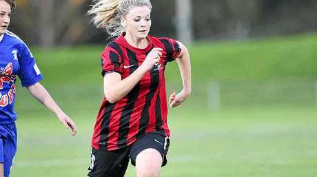 STRIKER: Elsa Mangan during her time at Alstonville. Elsa and her sister Serena were standouts for Lismore Workers in the latest round of FNC Ladies Premier Division football.