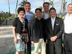 RE-BORN: Tourism Minister Jann Stuckey, One&Only; Hayman Island general manager Guenter Gebhard, Mulpha chairman Seng Huang Lee, Whitsunday MP Jason Costigan, One&Only; Hayman Island COO Mark DeCocinis and Kerzner International CEO Alan Leibman at the grand opening of One&Only; Hayman Island resort yesterday afternoon.