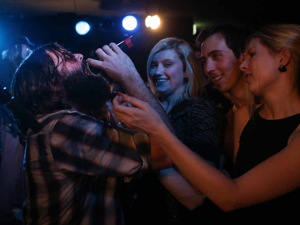 ROCKIN' THE BEARD: The Beards got up close with their fans during their set in Rockhampton last Friday.