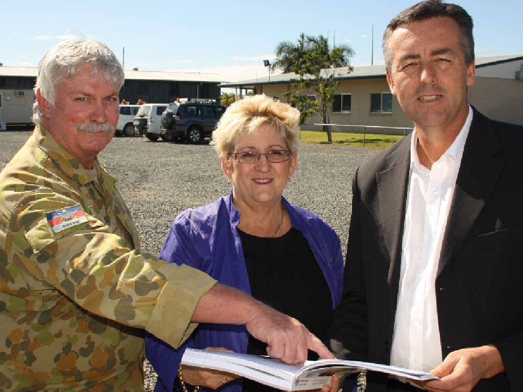 STRONG SUPPORT: Rockhampton Major Joe Simpson, Member for Capricornia Michelle Landry and Parliamentary Secretary to the Minister for Defence, Darren Chester, get down to business.