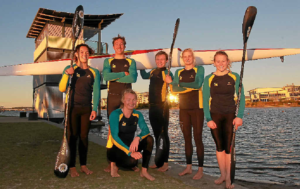 EUROPE BOUND: Sunshine Coast (and Kawana Waters Canoe Club) kayakers who will be representing Australia at the world junior sprints in Europe (L-R) Caitlin Burt-Poloai, Connor Buhk, Caitlin Gilliman (kneeling), Josh Rew, Alyssa Bull and Brianna Massie. Other Sunshine Coast members of the Australian team absent from the photo are Siarn O'Neill and Jy Duffy from KWCC and Alyce Burnett and Bill Bain from the Sunshine Coast Kayak Club.