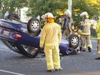 Two car traffic crash, one rollover. Driver of rolled car sustained injuries and transported to hospital. Thursday, July 3, 2014 . Photo Nev Madsen / The Chronicle