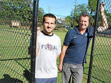 NEW FIELD: Futsal champion Thiago Priori and Bangalow Bluedogs vice-president Lyle Le Sueur.