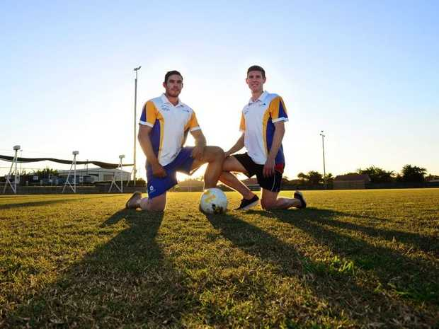 TOP OF THE LADDER: The Waves team captain Matt Martin and team striker Jacob Trudgian are looking forward to their big clash against Gympie Diggers. Photo: Zach Hogg / NewsMail