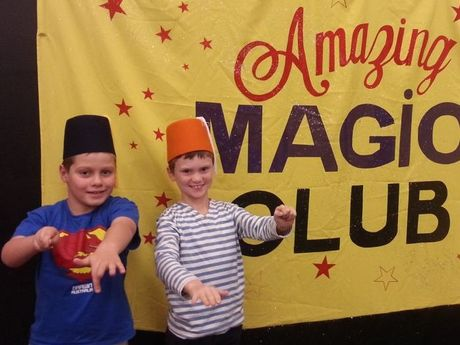 Toowoomba's Charlie Bragg and Lachlan Moule attend the Arts Health Institute Magic Club. Photo Nick Houghton / The Chronicle