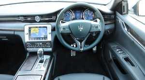 Inside the Maserati Quattroporte Diesel.
