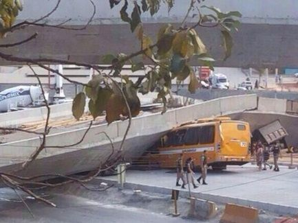 AN overpass in Brazil, built as part of the World Cup transport infrastructure has collapsed, crushing a bus and a truck below.