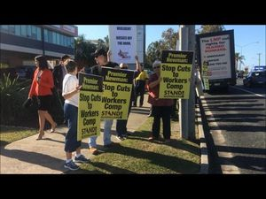 Union protest outside Bleijie's office