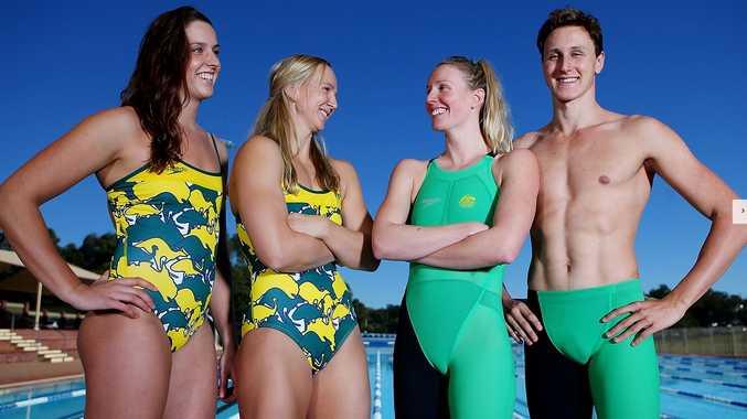 Brittany Elmslie, Melanie Schlanger, Bronte Barratt and Cameron McEvoy pose during the Australian Commonwealth Games Swim Team Speedo Uniform Launch