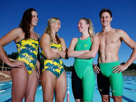 Brittany Elmslie, Melanie Schlanger, Bronte Barratt and Cameron McEvoy pose during the Australian Commonwealth Games Swim Team Speedo Uniform Launch