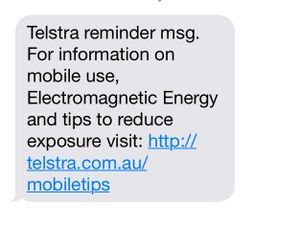 A text message sent to Telstra customers.