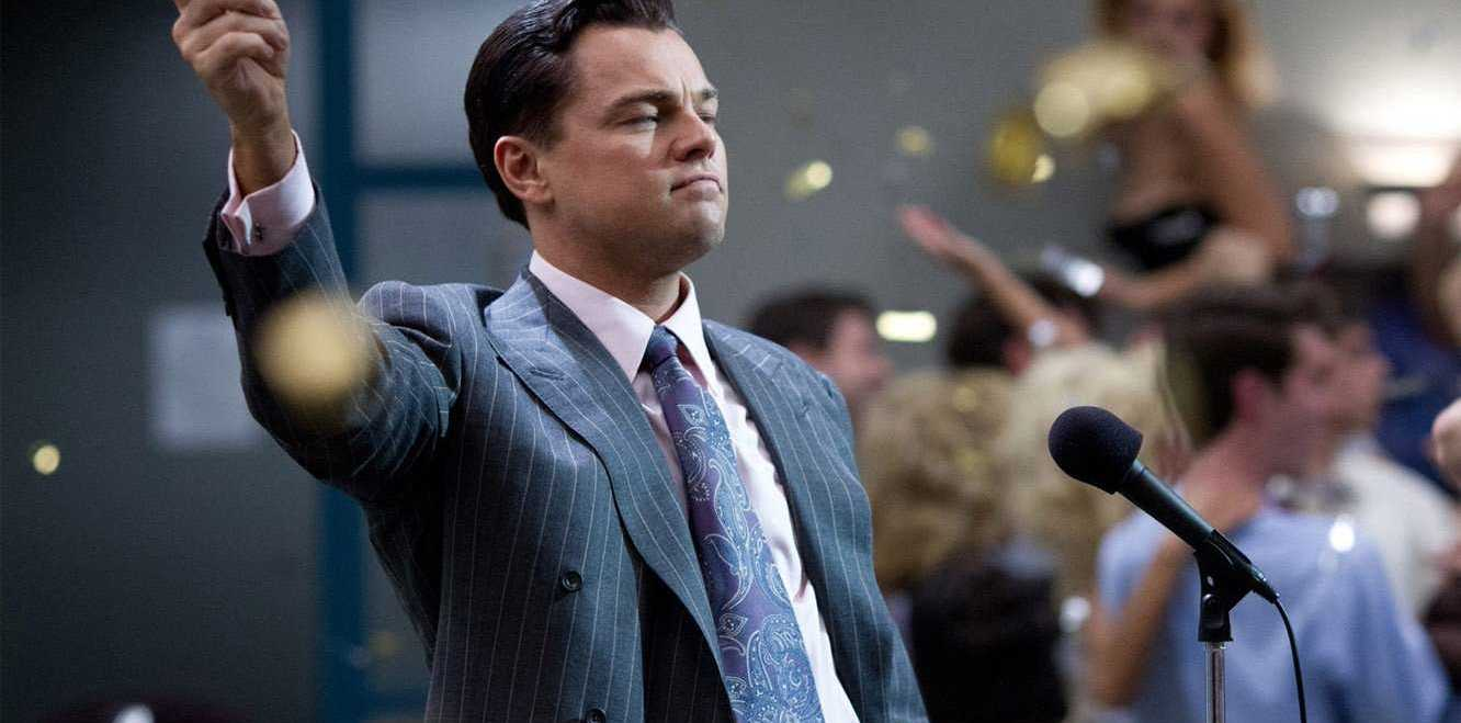 Leonardo DiCaprio as Jordan Belfort in the film Wolf of Wall Street