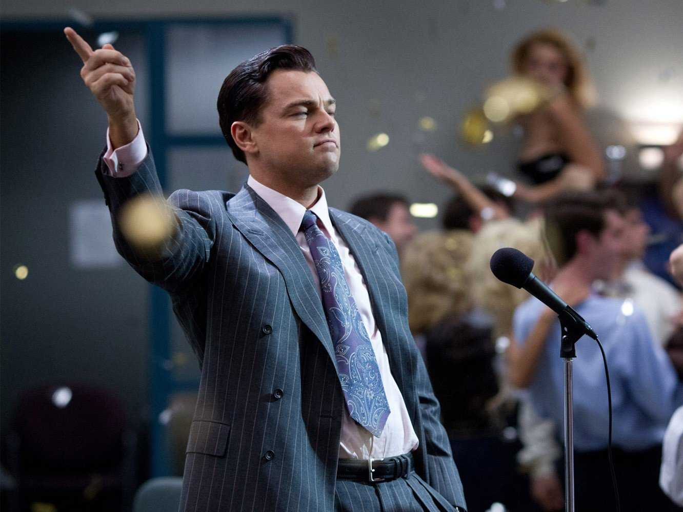 Leonardio DiCaprio as Jordan Belfort in The Wolf of Wall Street.