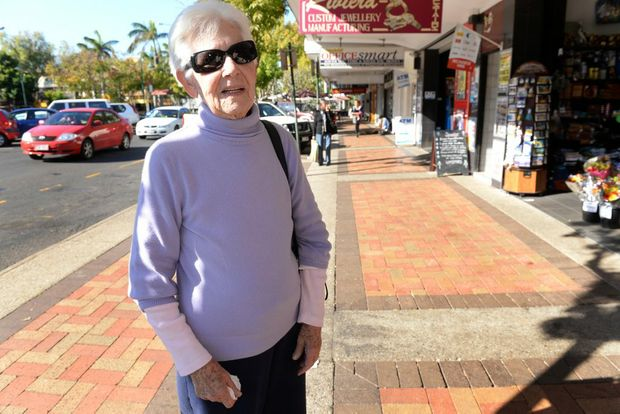BENCHES GONE: Coral Kleinschmidt would like to see more seating in Bourbong Street. Photo: Mike Knott / NewsMail