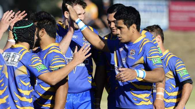 Norths celebrate a hard earned 26-20 win over Fassifern on Sunday.