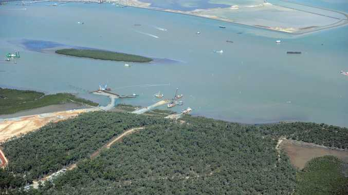 Aerial view of Curtis Island, LNG sites. Dredging and Fishermans landing in the background.