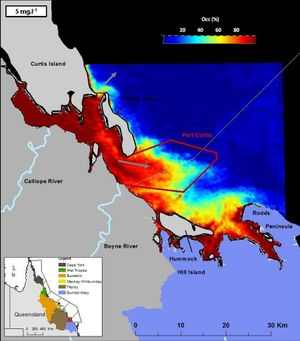 Occurrence maps corresponding to the number of times (in percentage) any given pixel of the GBR was covered by values higher than 5 mg.l-1 during the spring of 2011. Photo Contributed