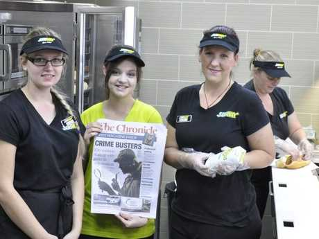 Northpoint Subway staff Shannon Kieseker, Kaitlin Burgess and Mellaney Runge.