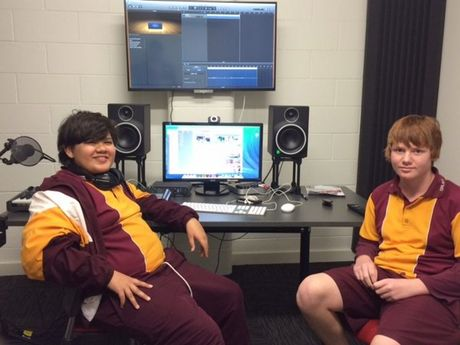 Podcasters Braden Pace and Tom Moody make good use of the new technology available for free in Dalby Library's new Creative Studios.