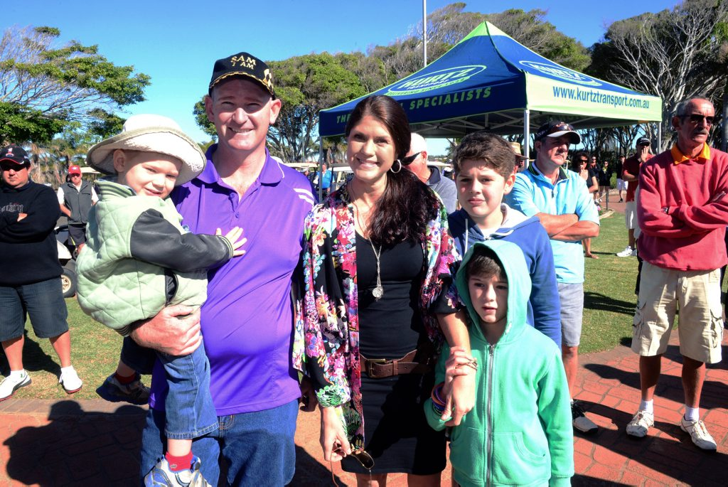 FOR SAM: Ryan Ross, Justin Ross, Bonnie Daly, Beau Daly and Keil Daly at the fundraiser held at the Coral Coast Golf Club for Sam Ross who has leukaemia on Sunday, 6 July, 2014. Photo: Max Fleet / NewsMail