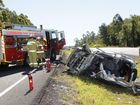 Single vechicle traffic crash on the Bruce Highway just north of the Parklands overpass between Nambour and Yandina.
